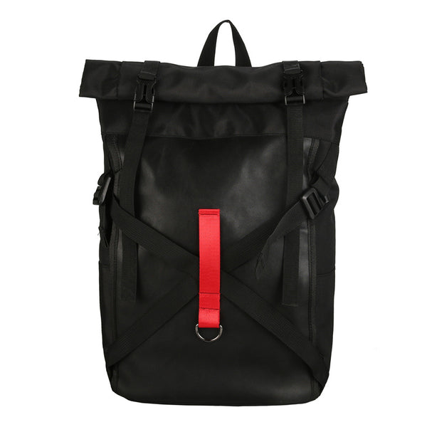 Black waterproof school backpack