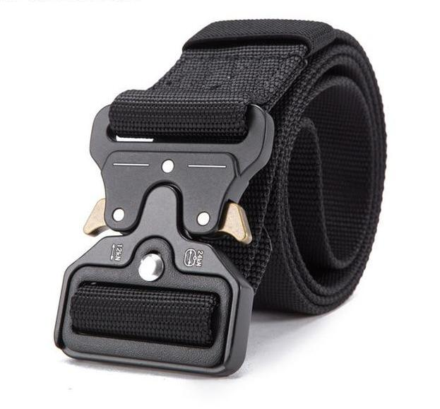 Streetwear utility heavy duty black belt in zinc alloy