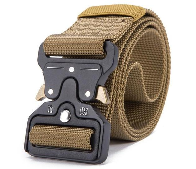 Streetwear utility heavy duty khaki belt in zinc alloy with key loop