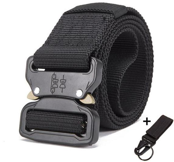 Streetwear utility heavy duty black belt in zinc alloy with key loop