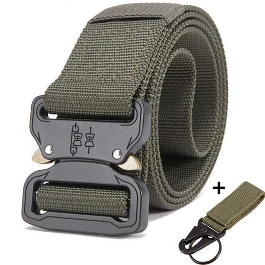 Streetwear utility heavy duty army green belt in zinc alloy