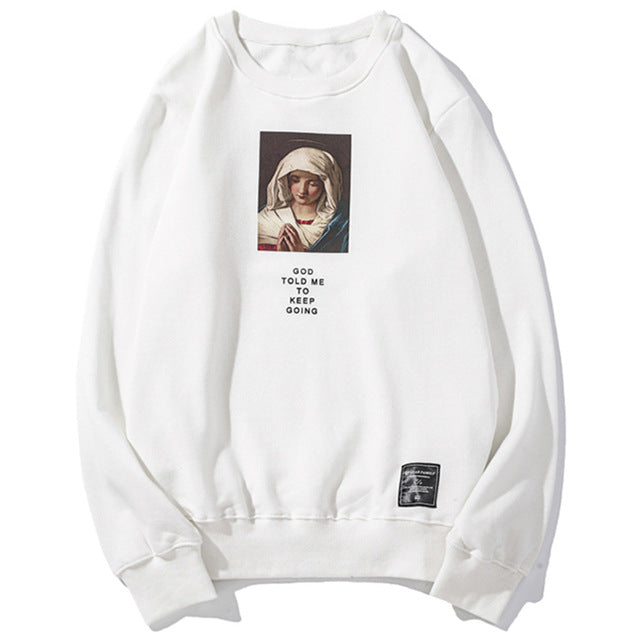 Virgin Mary white Sweatshirt