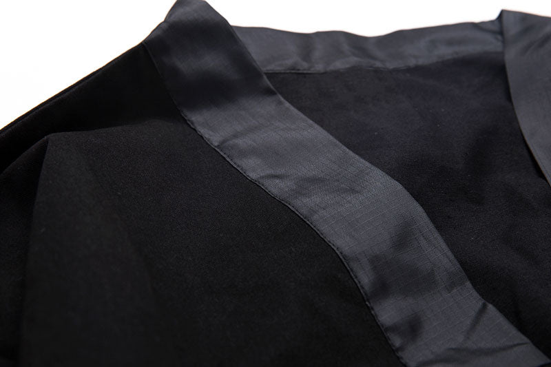 Black kimono's style cardigan jacket Military Navy with long sleeves, oversized, front zip