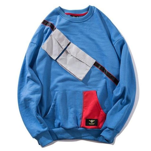 Blue O-neck Homeless Pullover