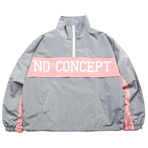 No Concept pink and grey windbreaker