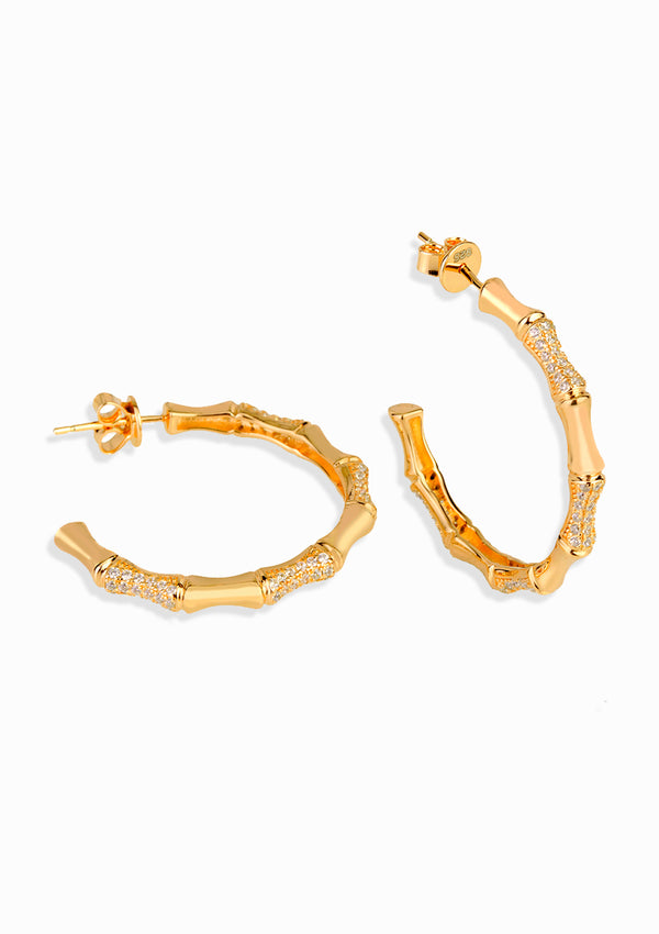 Haus of Dietrich Milano Bamboo Yellow Gold Earrings