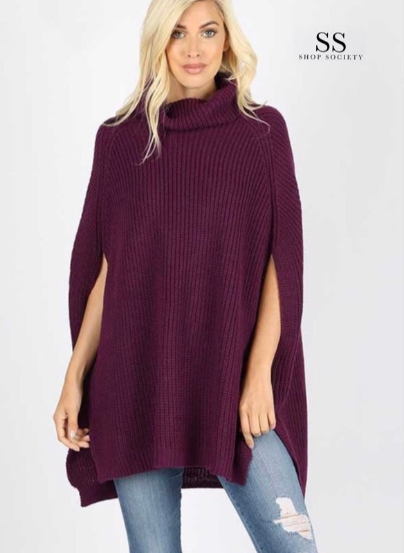 TURTLENECK PONCHO SWEATER