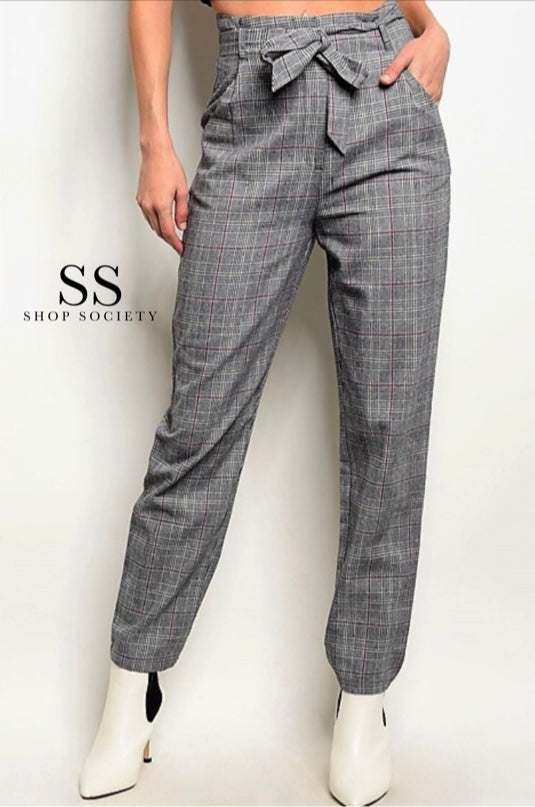 GRAY PINK CHECKED PANTS