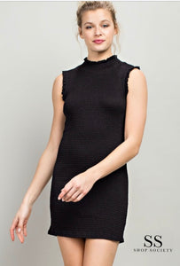 SMOCKED TURTLENECK FITTED DRESS