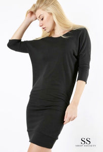 LONG KNIT DRESS WITH SIDE SLEEVE SHIRRING