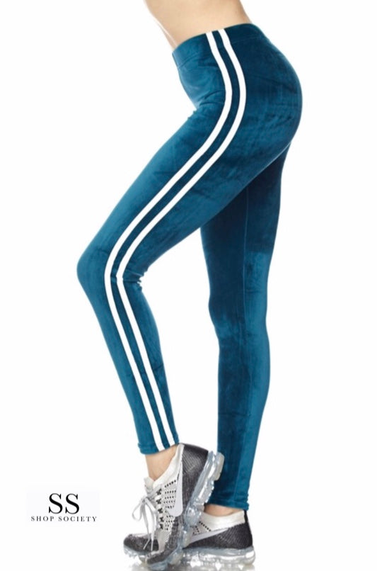 VELVET SIDE STRIPE LEGGINGS