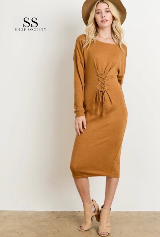 LACE UP FRONT KNIT DRESS