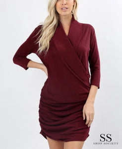 SWEATER WRAP DRESS WITH 3/4 SLEEVES AND SHIRRED SIDE
