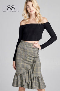 JACQUARD CHECK MIDI SKIRT