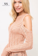 Load image into Gallery viewer, LIGHT PATTERN KNIT OPEN SHOULDER SWEATER