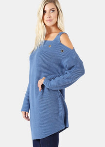 OFF THE SHOULDER TUNIC SWEATER WITH EYELET DETAIL