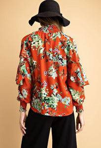 FLORAL PRINT RUFFLED SHEER SHIRT