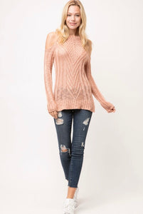 LIGHT PATTERN KNIT OPEN SHOULDER SWEATER