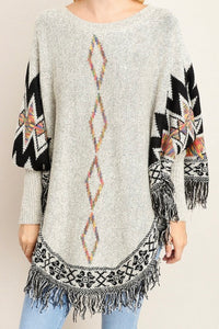 TRIBAL PATTERN DOLMAN SLEEVE KNIT SWEATER WITH FRINGE HEM