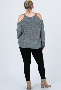 CHUNKY KNIT COLD SHOULDER SWEATER