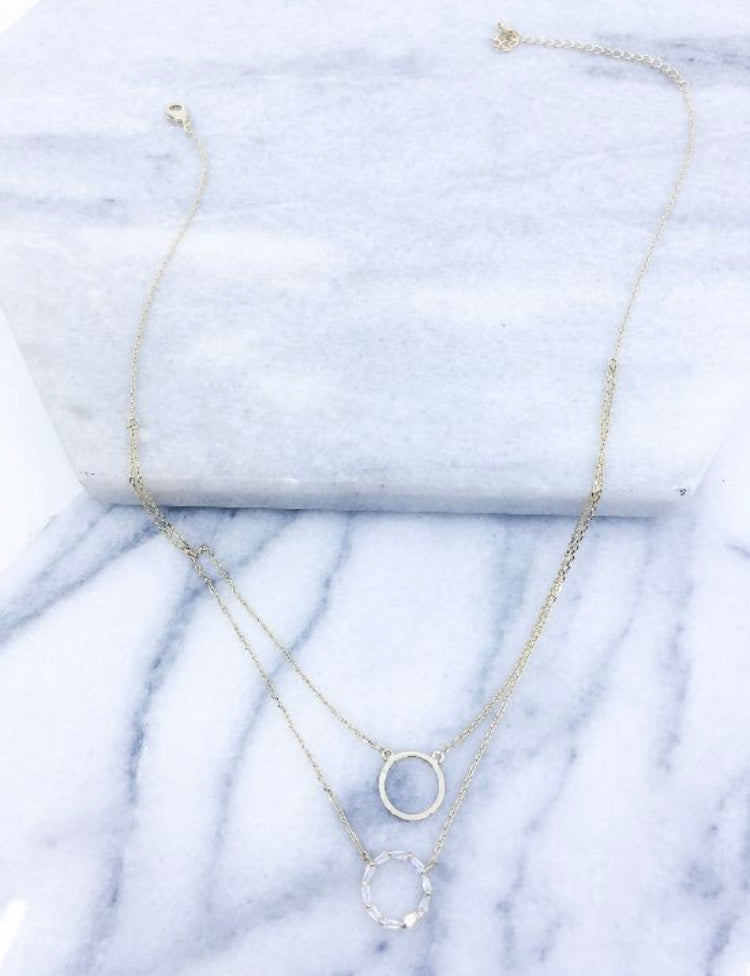 DAINTY BAGUETTE STONE TIERED DOUBLE CIRCLE NECKLACE