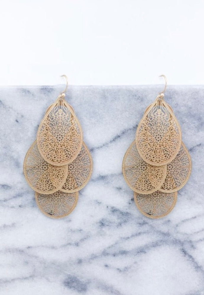 TIERED FILIGREE TEARDROP EARRINGS