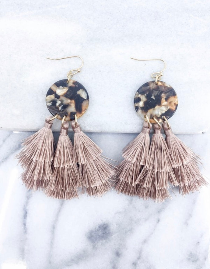 TORTOISE TIERED TASSEL EARRINGS