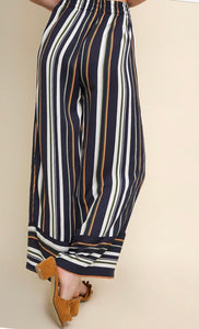 STRIPED HIGH WAIST WIDE LEG TROUSER PANT