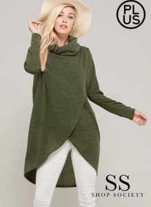 LONG SLEEVE COWL NECK HACCI SWEATER KNIT TOP