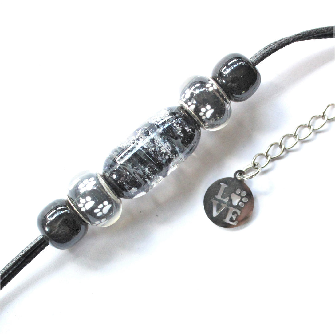 Pet Cremation Ash Bracelet w/Paw Beads