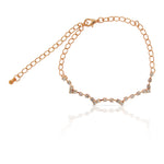 Gold Diamante Crescent Wave Anklet