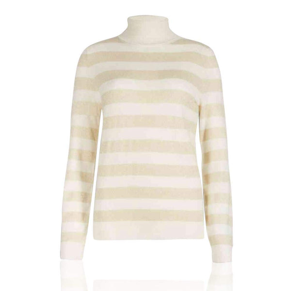 M&S Autograph Cashmere Rich Striped Roll Neck Jumper - The Outlet London
