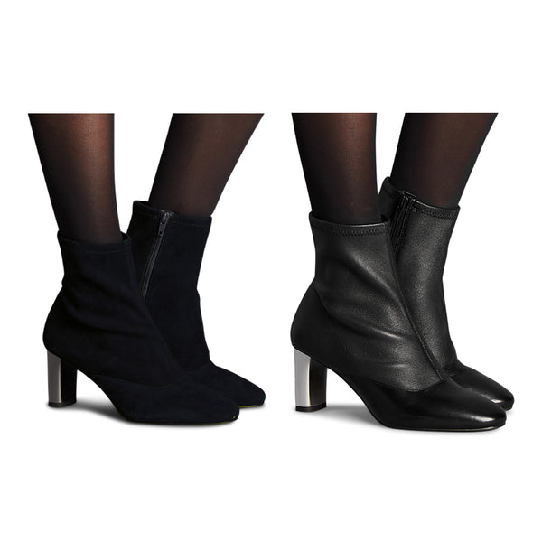 M&S Autograph Leather/Suede Side Zip Stretch Feature Ankle Boots - The Outlet London