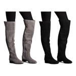 M&S Autograph Leather Block Heel Over The Knee Boots - The Outlet London