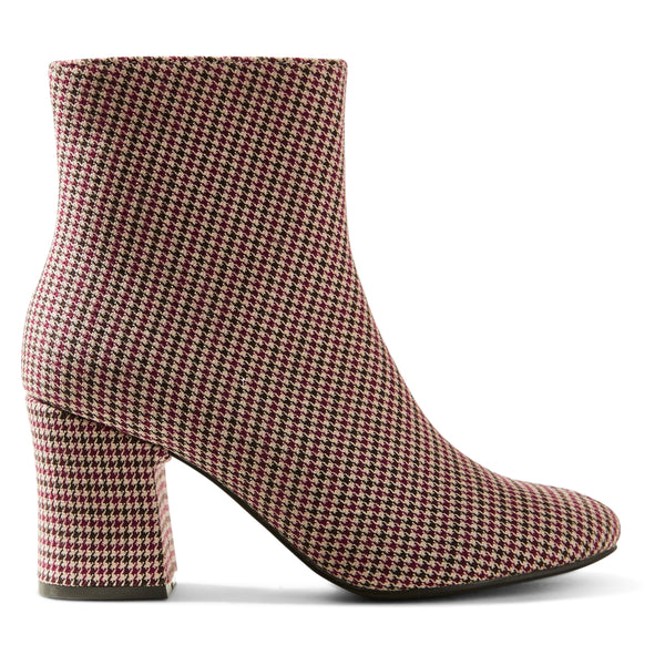 Ex Marks & Spencer - M&S Collection Houndstooth Textile Burgundy Ankle Boots - T025927B