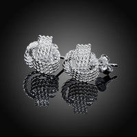 Sterling Silver 925 Plated Boucle Rope Knot Design Stud Pierced Earrings