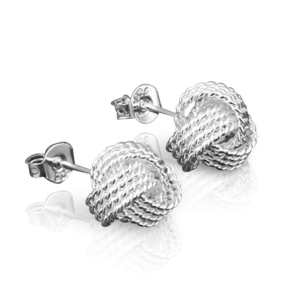 Sterling Silver 925 Plated Boucle Rope Knot Design Stud Pierced Earrings - The Outlet London