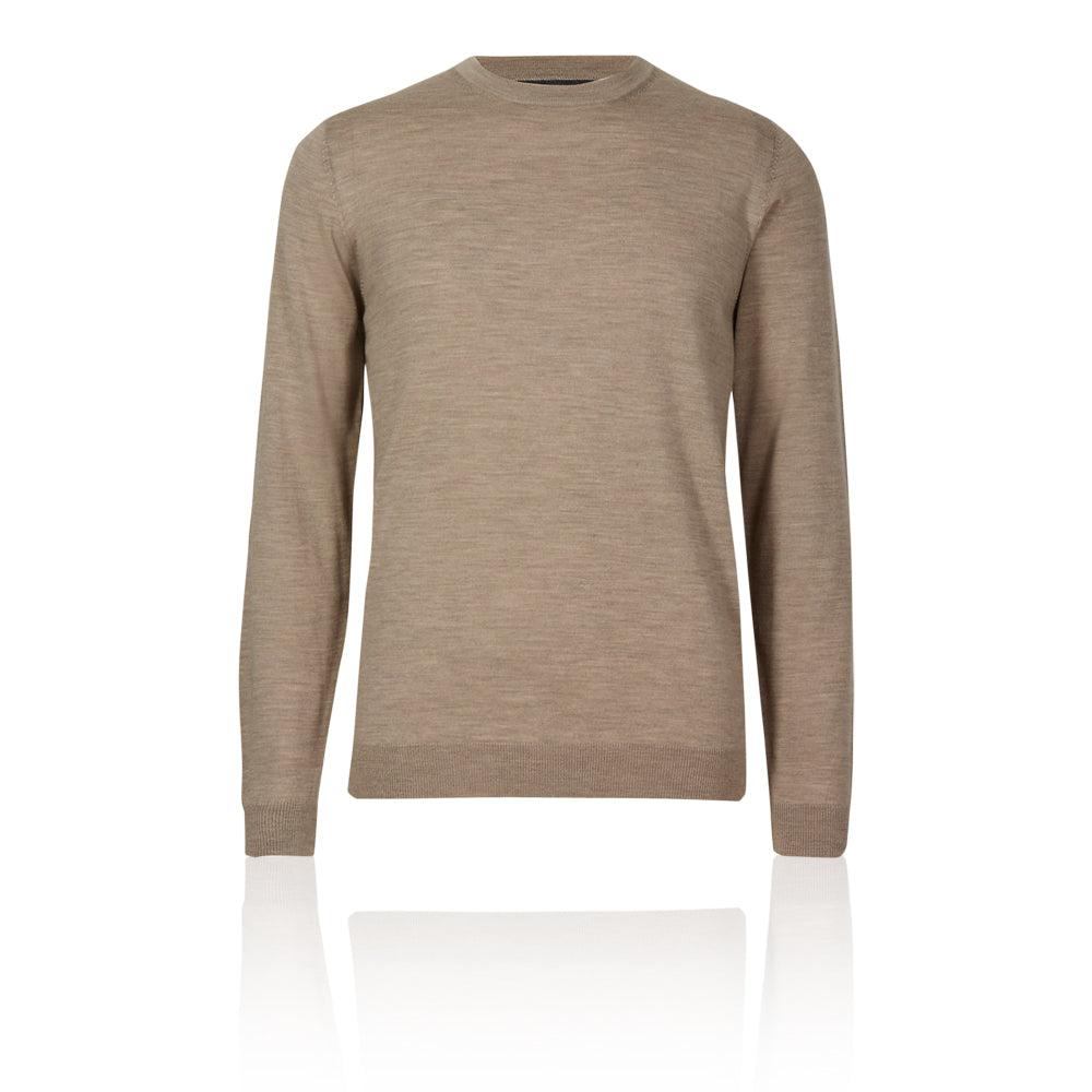 Ex-Marks & Spencer - M&S Collection Ecru Pure Merino Wool Crew Neck Jumper - T303536M