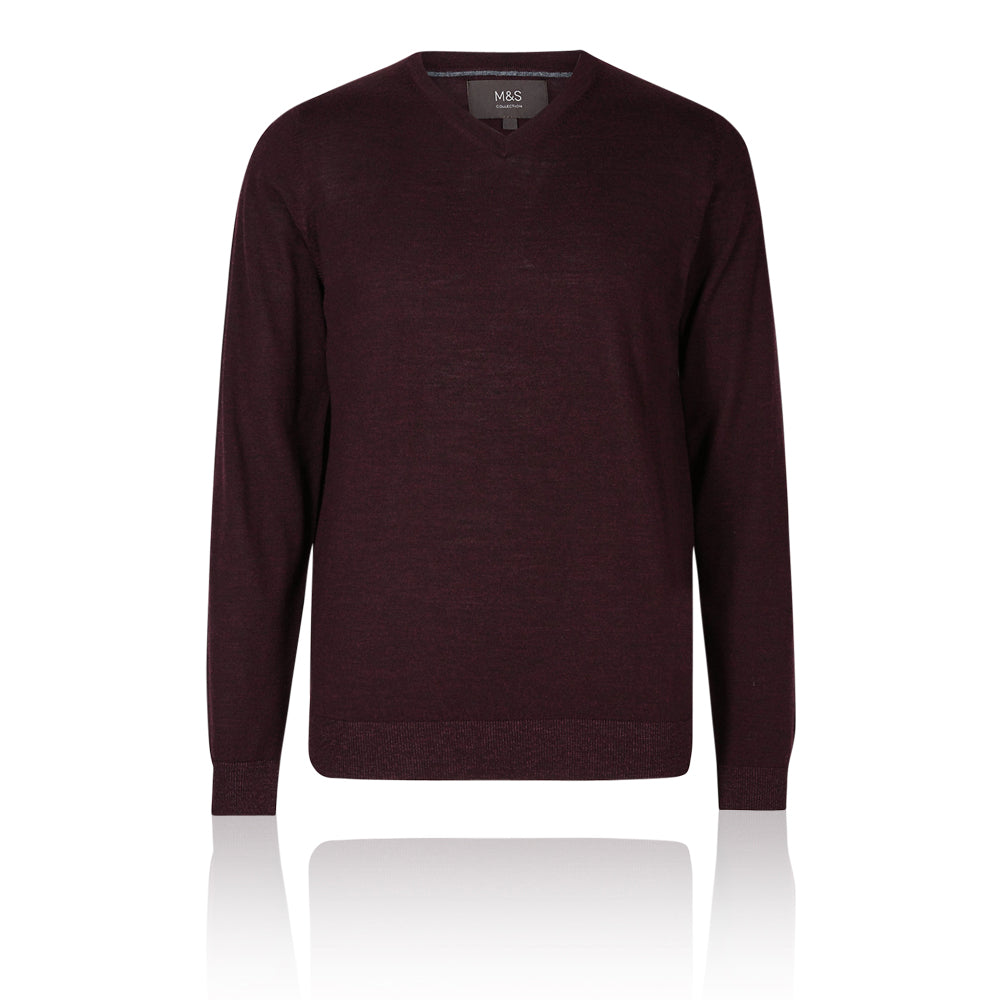 M&S Collection Aubergine Extra Fine 100% Merino Wool V Neck Jumper - Aubergine (Purple) / XS Standard - The Outlet London