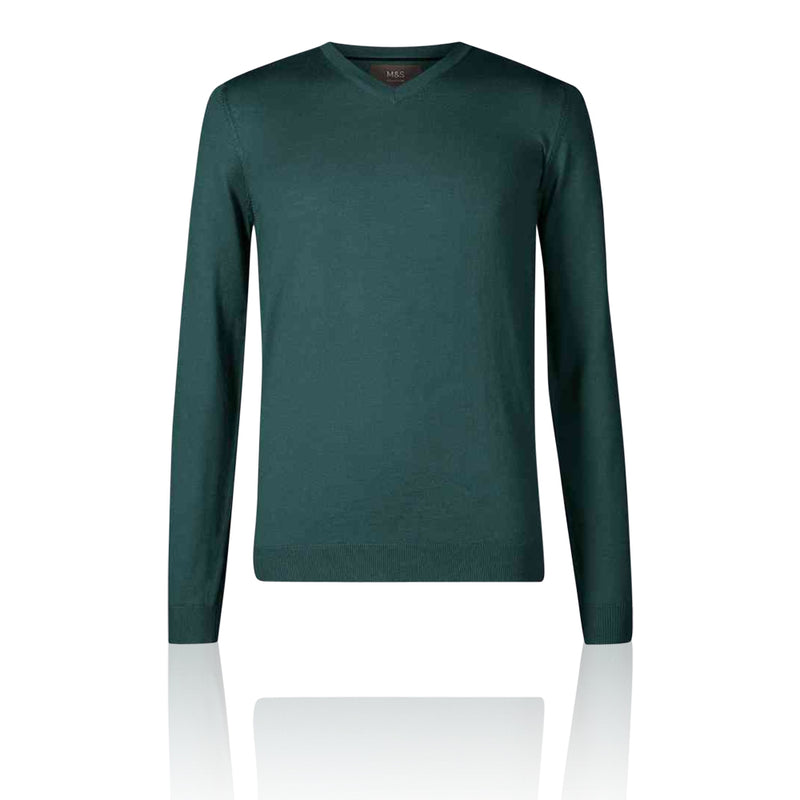 Marks & Spencer - M&S Extra Fine 100% Merino Wool V Neck Green Jumper - T303535M