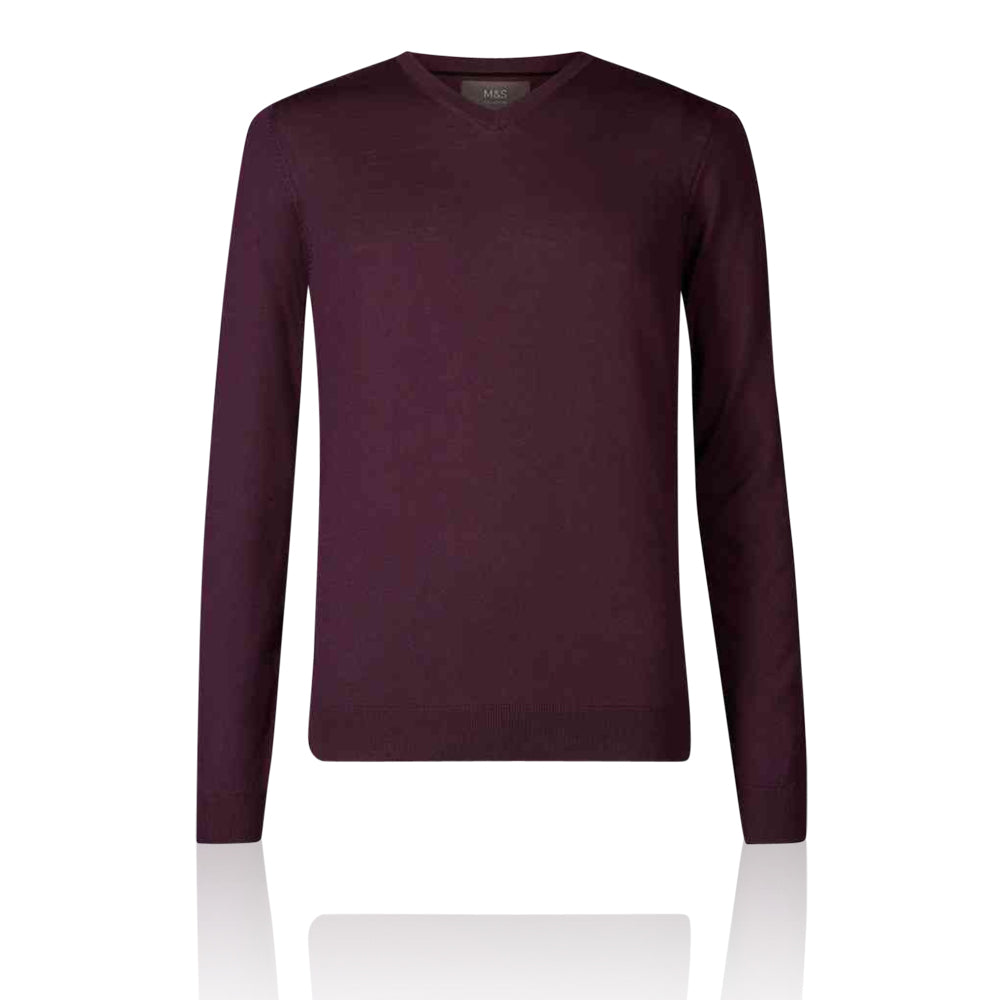 Ex-Marks & Spencer - M&S Collection Plum Extra Fine 100% Merino Wool V Neck Jumper - T303535M