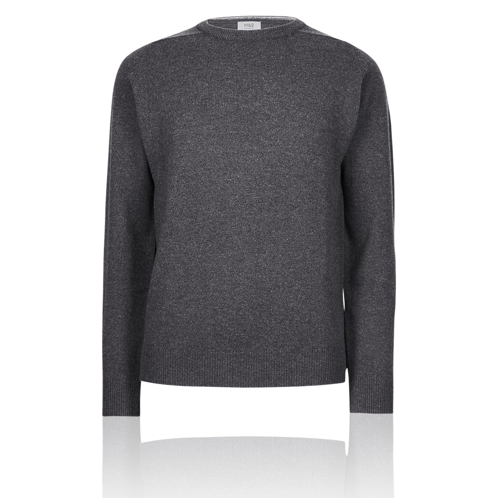 M&S Pure Extra Fine Lambswool Crew Neck Dark Grey Jumper - Dark Grey Mix / XS Standard - The Outlet London