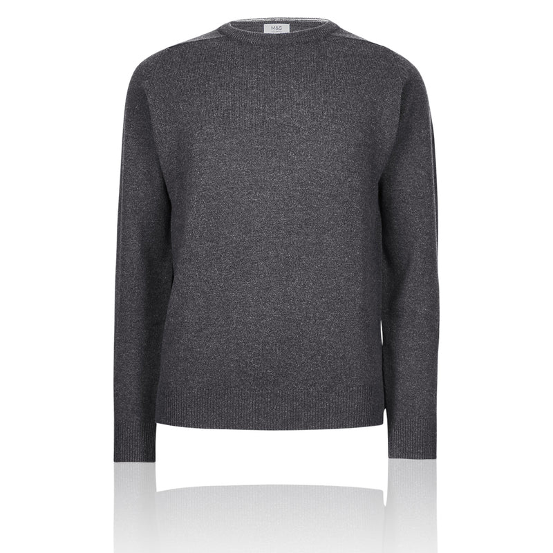 Ex Marks & Spencer - M&S Pure Extra Fine Lambswool Crew Neck Dark Grey Jumper - T302650M
