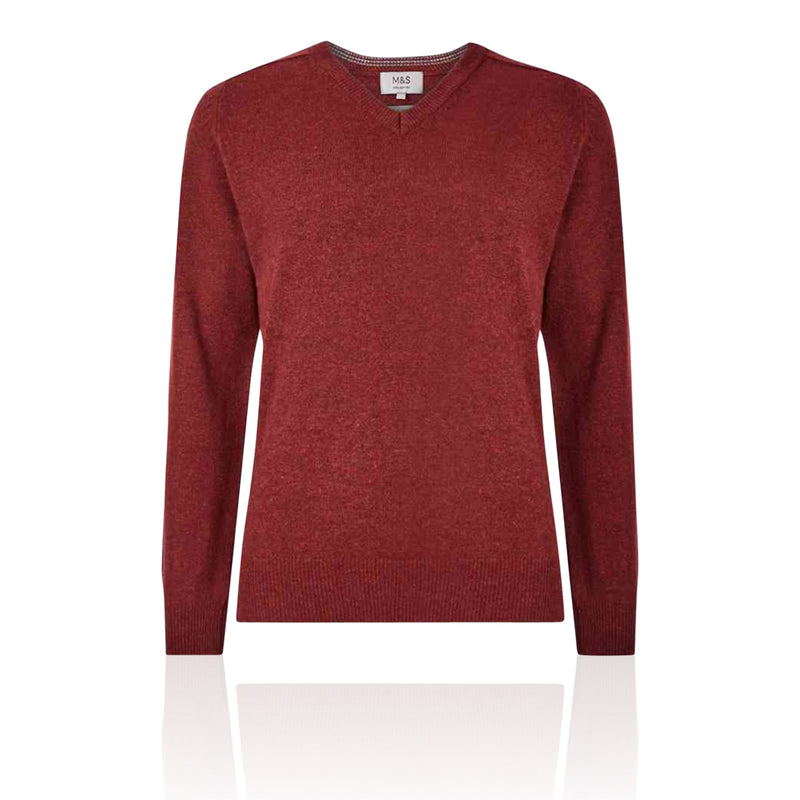 Marks & Spencer - M&S Pure Extra Fine Lambswool V-Neck Russet Jumper - T302649M