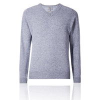 Ex Marks & Spencer - M&S Pure Extra Fine Lambswool V-Neck Sky Blue Jumper - T302649M