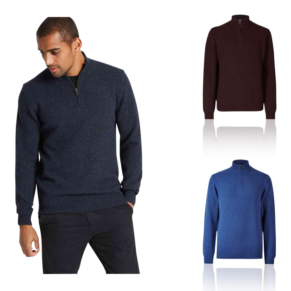 Ex Marks & Spencer - M&S Collection Pure Extra Fine Lambswool Zip Neck Jumper - T302426M