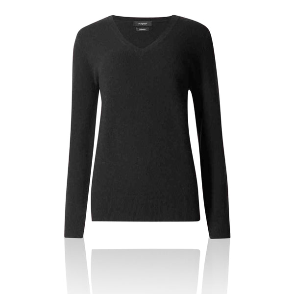 M&S AUTOGRAPH Pure Cashmere V Neck Black Jumper - The Outlet London