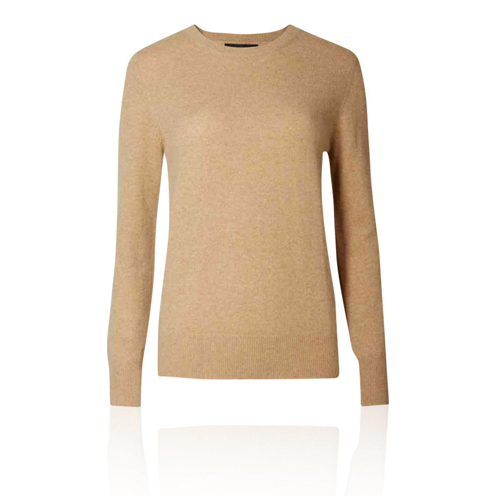 Ex-Marks & Spencer - M&S Collection Dark Camel Pure Cashmere Crew Neck Jumper  - T383390