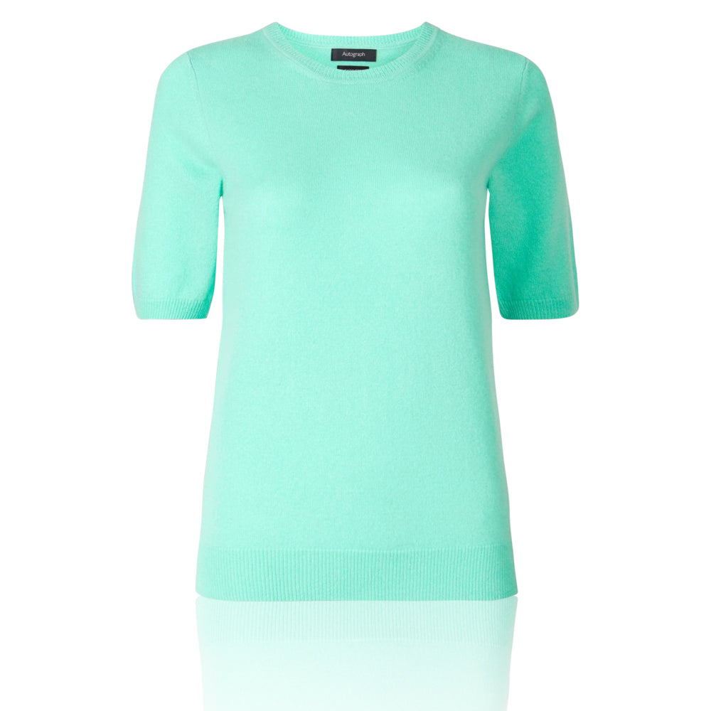 M&S AUTOGRAPH Pure Cashmere Round Neck Knitted Fresh Green Top - The Outlet London