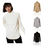 M&S Autograph Pure Cashmere Curved Hem Funnel Neck Jumper - The Outlet London